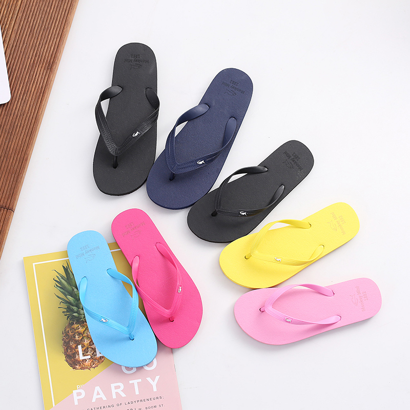 Summer fashion couple style flip flop beach slipper sandal clip foot classic solid color slipper for women