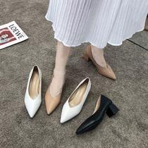 一脚蹬女鞋夏季2019新款尖头粗跟小香风单鞋女中跟浅口豆豆鞋百搭