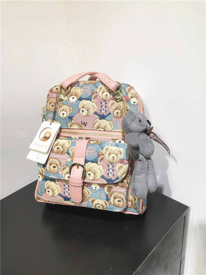 韩版复古风正品天天维尼小熊双肩帆布撞色刺绣休闲背包袋手提两用