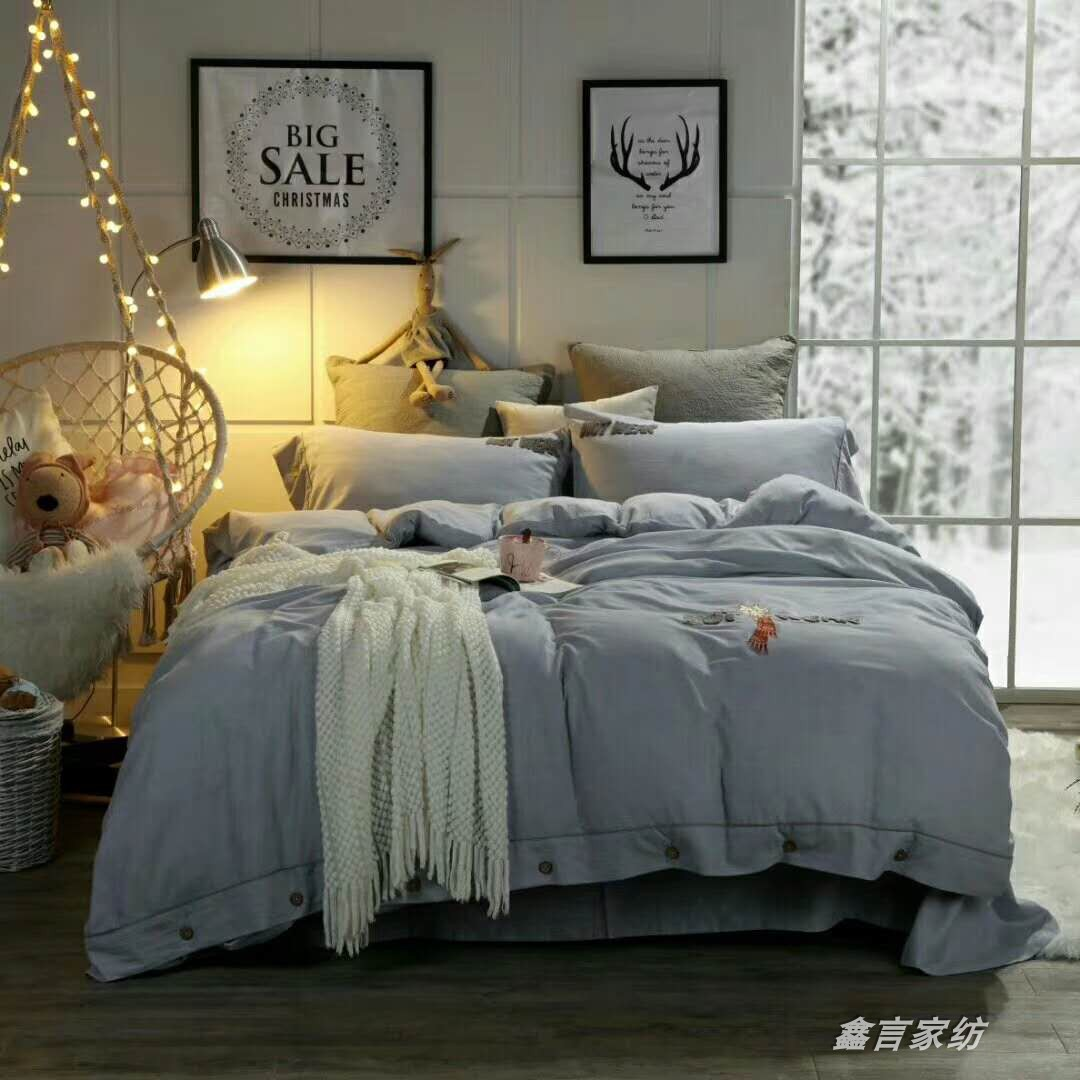 100% cotton macaroni Nordic simple light Luxury Style Embroidered sheet quilt cover four piece set