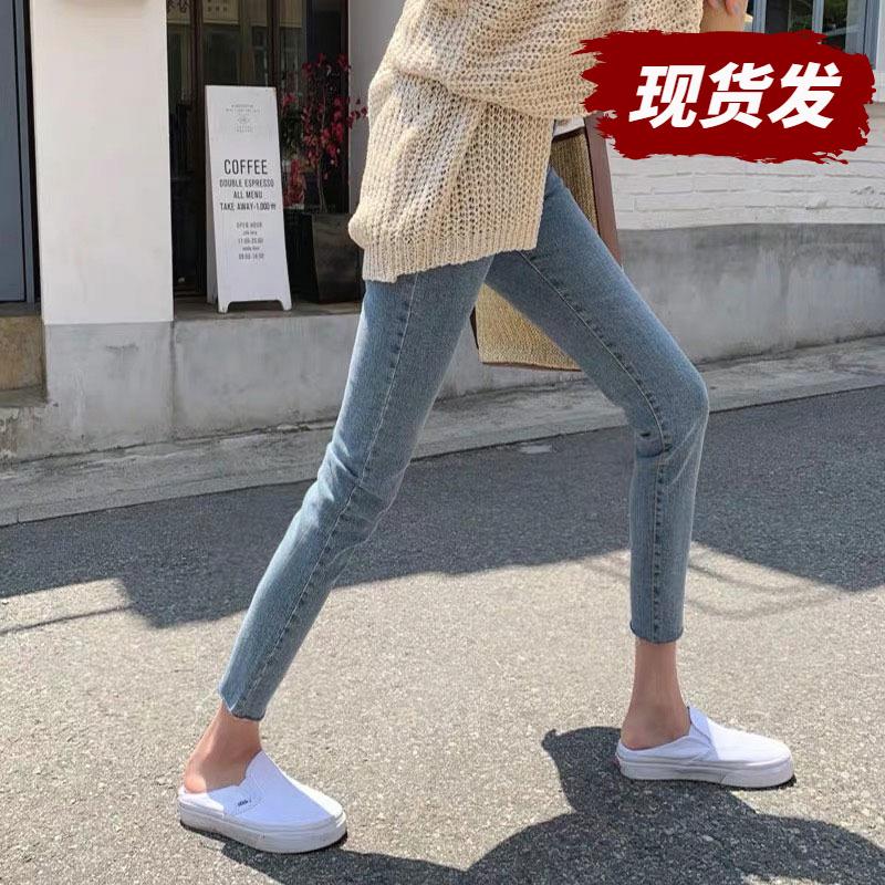 孕妇外穿春秋浅蓝色弹力小脚牛仔裤