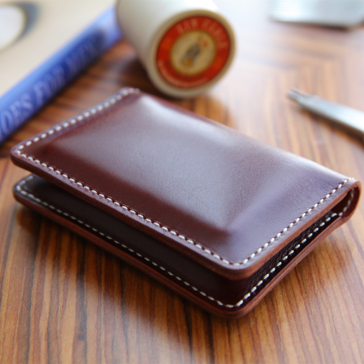 [karong] original handmade double fold card bag wallet business card bag for men and women bank card sandwich layer leather leather