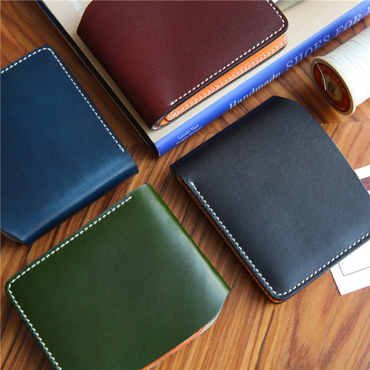 [karong] handmade half fold short wallet, pocket change wallet, mens and womens Bank clip, antique leather leather leisure