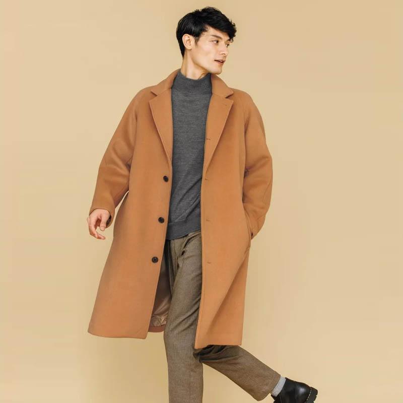 包邮海外直邮2021春装日本进口男装代购商务羊绒混纺毛呢大衣外套