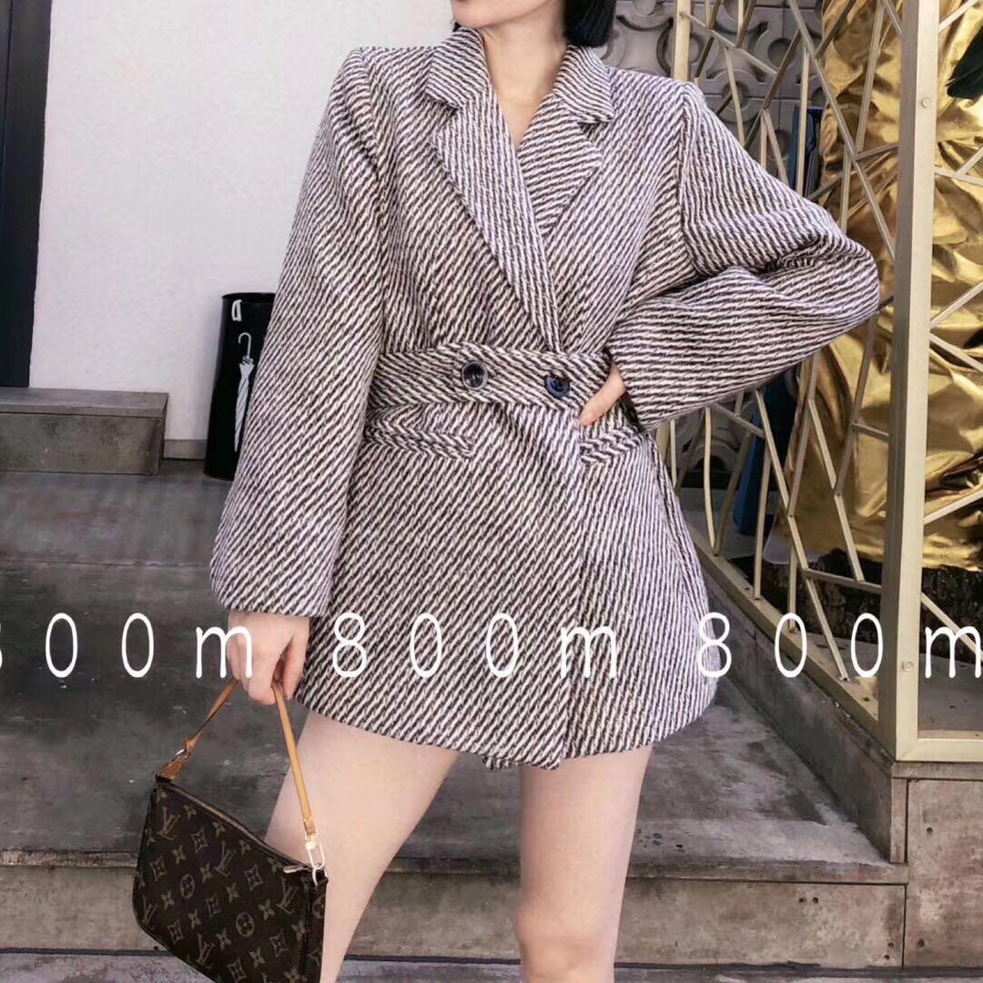 冬季新款千鸟格子条纹加厚夹棉小西装外套复古宽松系带毛呢外套女
