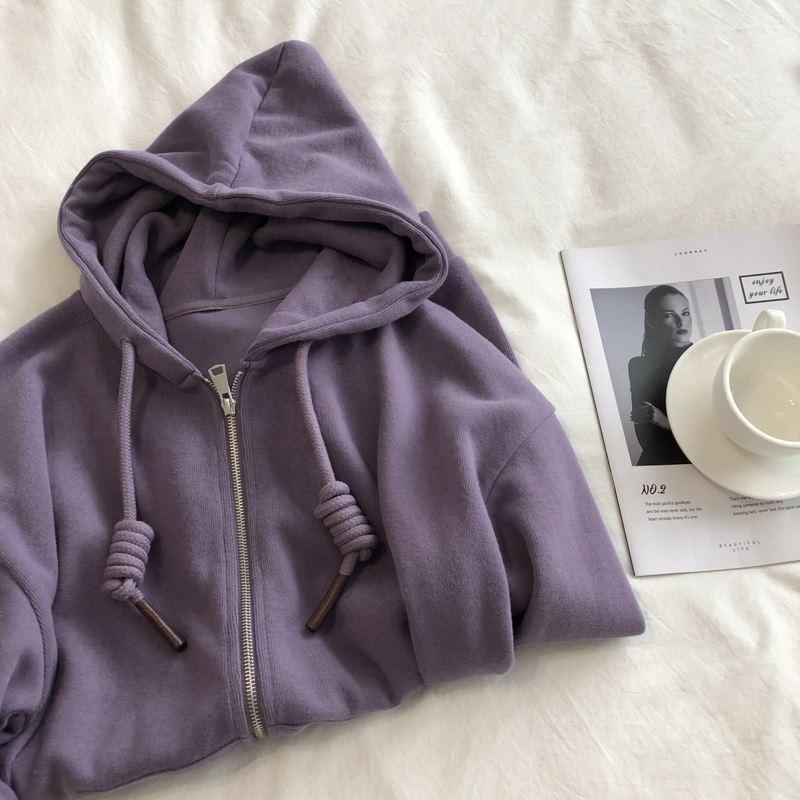 优雅紫色显白。春秋款宽松显瘦软糯米呢绒拉链连帽卫衣女开衫外套