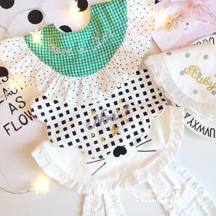日式ins嬰兒360圍嘴寶寶純棉公主口水巾蕾絲宮廷風圍兜週歲假領