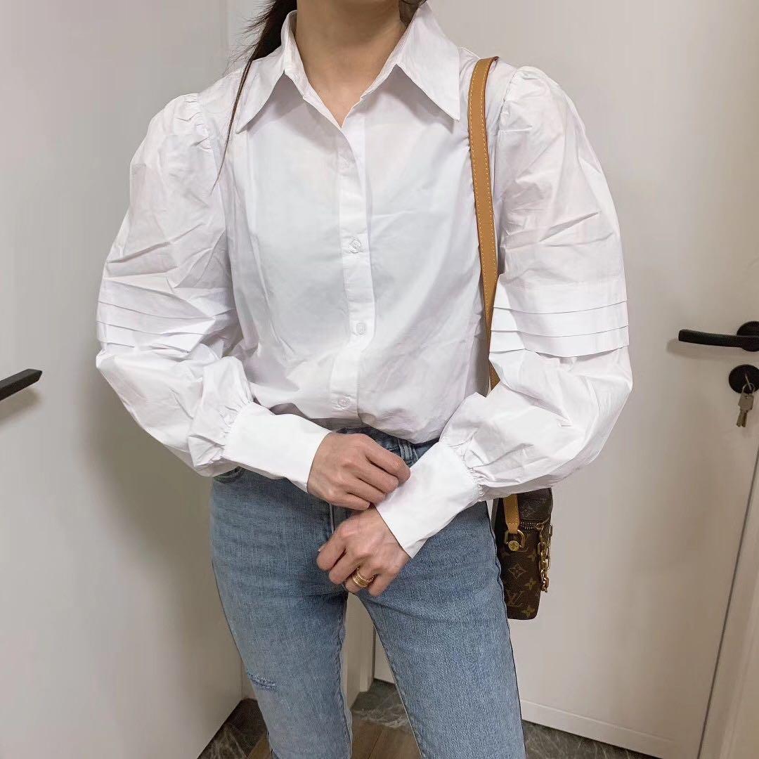 四季青精品女装2020年春装新款泡泡袖白色女式衬衫潮上衣星女郎家