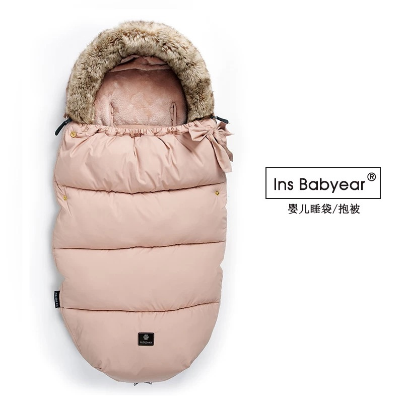 Baby feather cotton sleeping bag dual purpose baby going out newborn baby holding blanket and being thickened baby products in autumn and winter