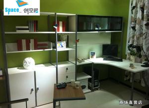 随变办公柜类书柜书架钢木组合连体书桌书房家具拐弯书桌柜组合
