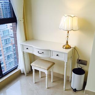 电脑桌台式 家用田园书桌学习桌现代简约写字台实木办公桌白色 美式