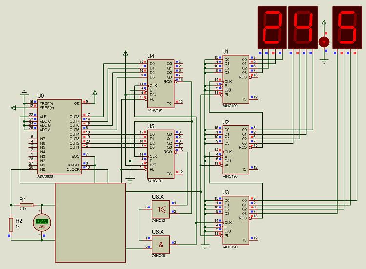 人气 无程序 数码管电压表DC0-25.5V ADC0808Proteus仿真模数电路,可领取元淘宝优惠券