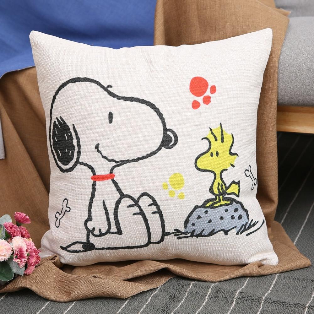 史努比可爱卡通狗棉麻美式抱枕套