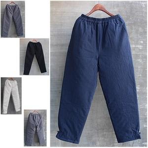 男士休闲棉裤宽松冬季夹棉加厚外穿大码中国风男装亚麻裤保暖黑色