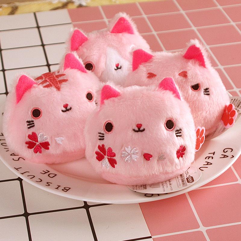 粉色樱花系列豆沙小猫 靴下猫 团子猫喵星人公仔手掌沙包摆件礼物