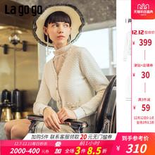 Lagogo/拉谷谷2019年春季新款时尚小香风勾花长袖针织衫两件套女
