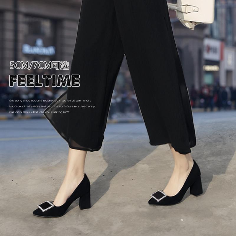 粗跟单鞋女2019秋款新款浅口百搭中跟5cm尖头鞋子职业黑色高跟鞋