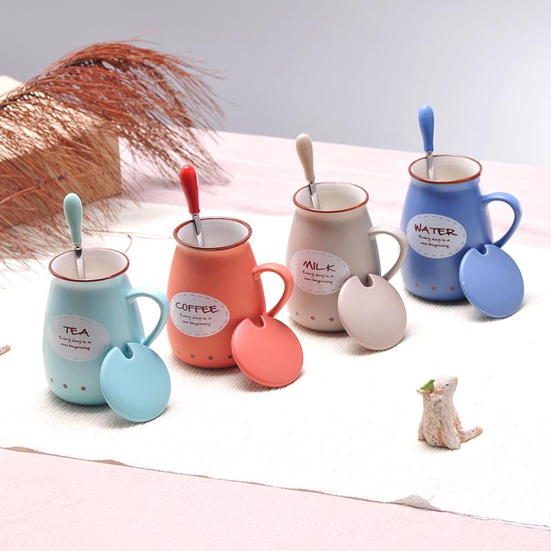 陶瓷牛奶杯早餐杯可�垴R克杯���w勺家用微波�t杯子定制logo咖啡杯
