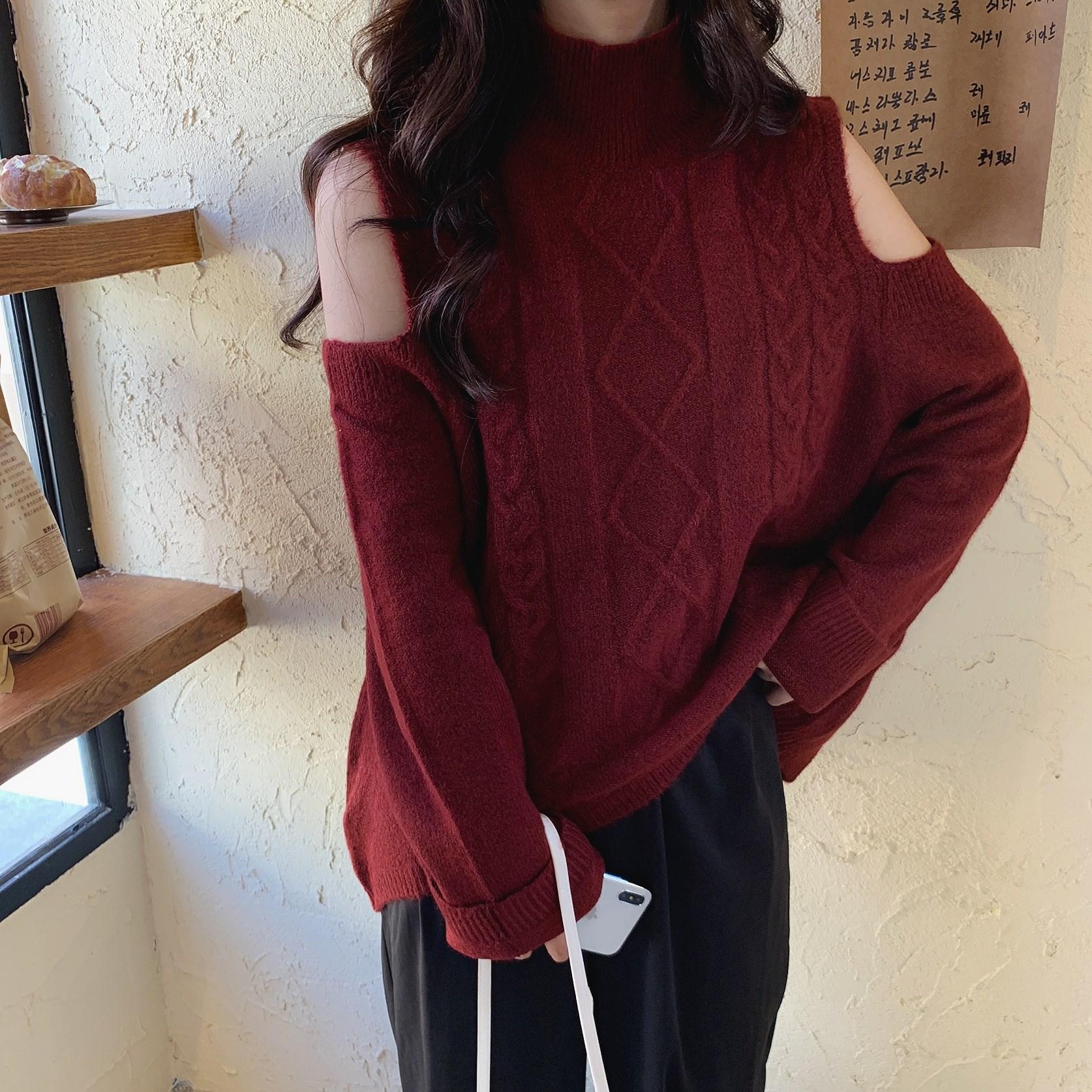 实拍 韩国 漏肩百搭长袖套头网红针织衫宽松显瘦毛衣