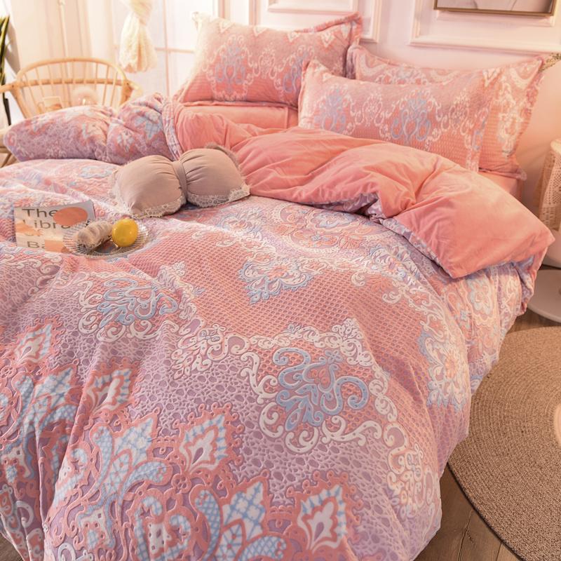 6D加厚雕花绒四件套床上用品宝宝绒被套双面绒珊瑚绒学生三件套