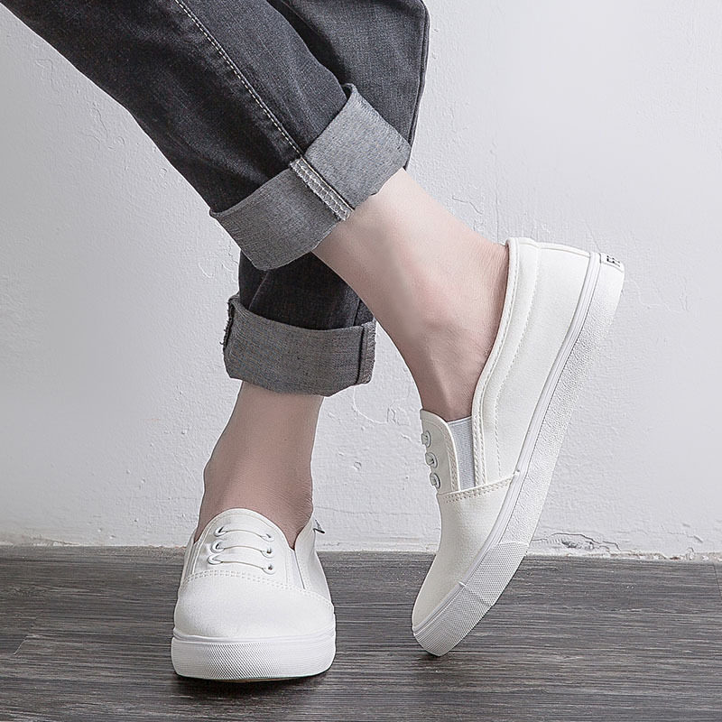 Feiyao mens canvas shoes low help students sports little white shoes with Korean version casual one legged loafers board shoes