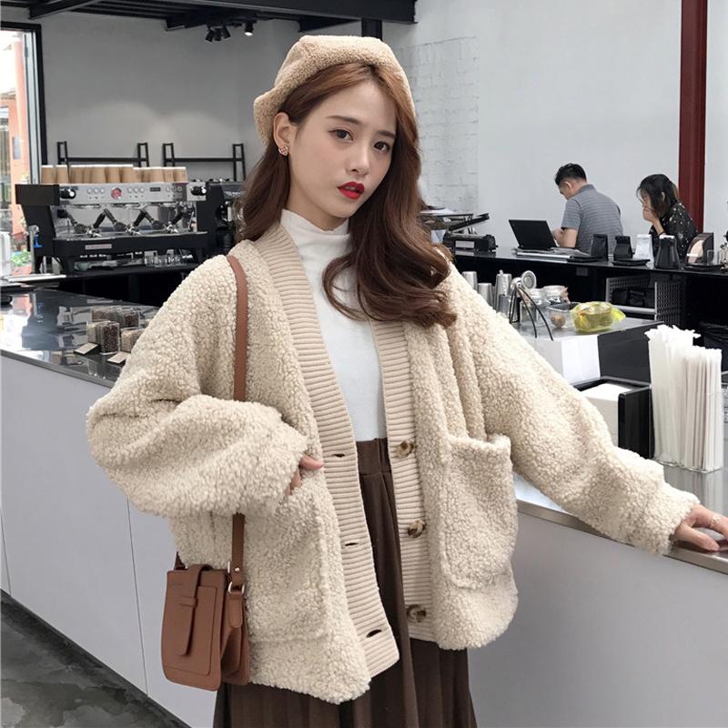 秋款女装韩版小清新加绒加厚宽松仿羊羔毛学生休闲开衫上衣外套女