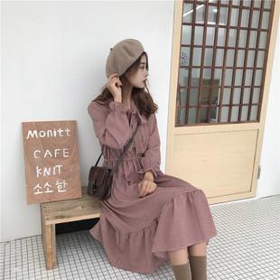 2019秋季v领气质冷淡风连衣裙子