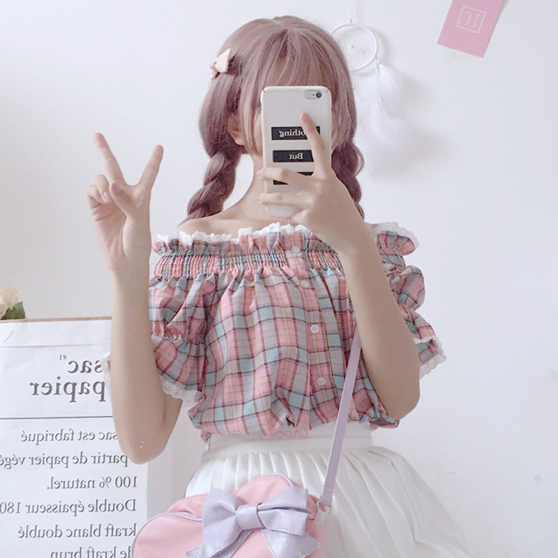 夏装新款女装韩版小清新一字领学生短袖蕾丝花边格子衬衫百搭上衣