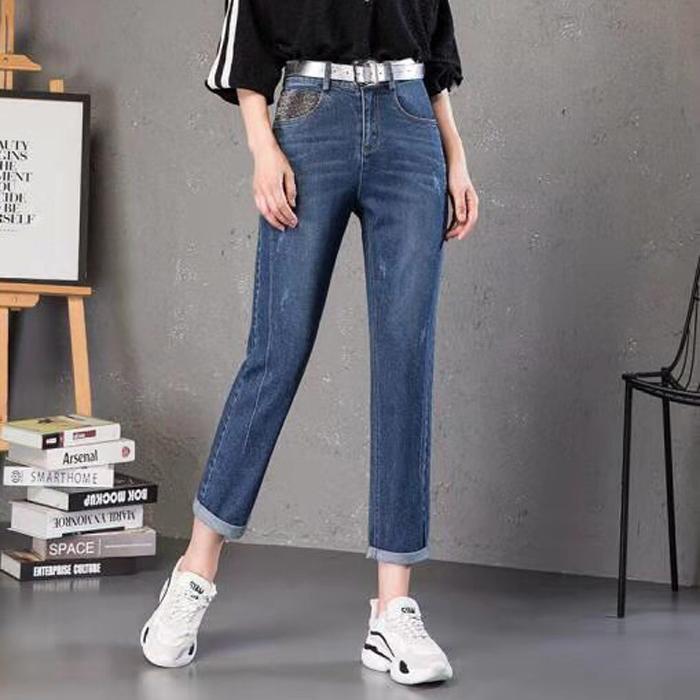 【品牌折扣】2019年秋季牛仔裤 高腰修身显瘦直筒裤女裤