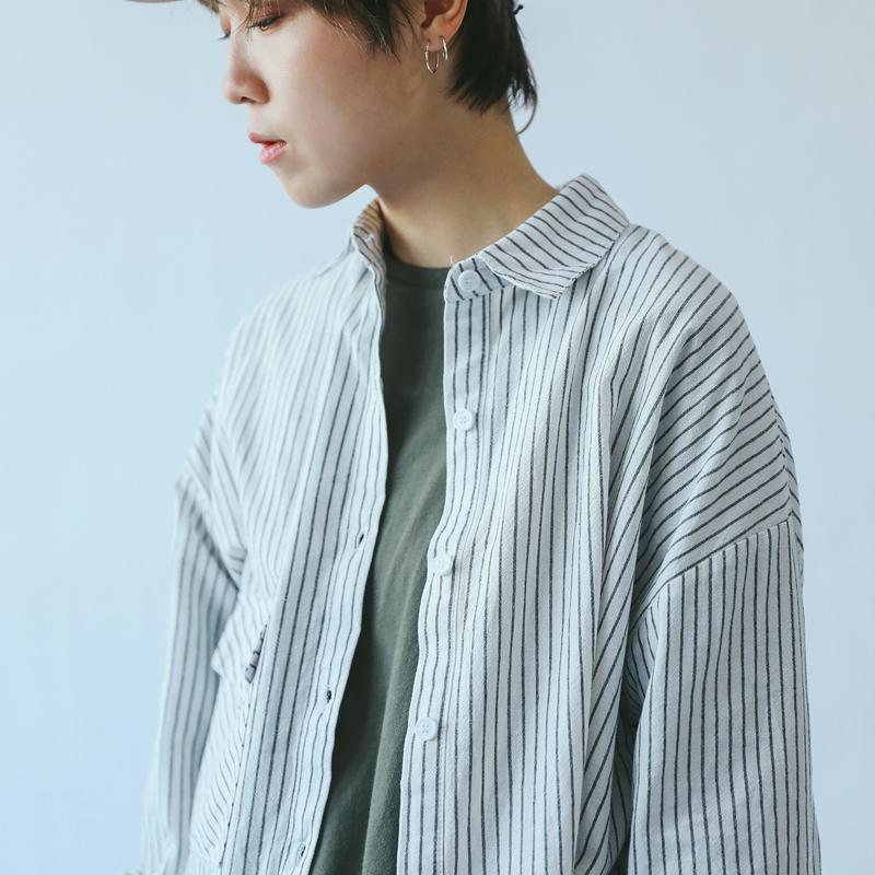 STILLYOU原创自制基础好搭文艺日系做旧条纹棉麻衬衫女式长袖衬衣