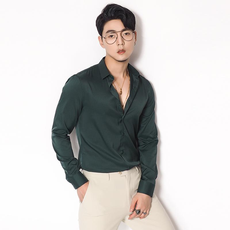 川泽墨绿色抗皱滑料长袖衬衫修身英伦风青年休闲纯色透气质感衬衣