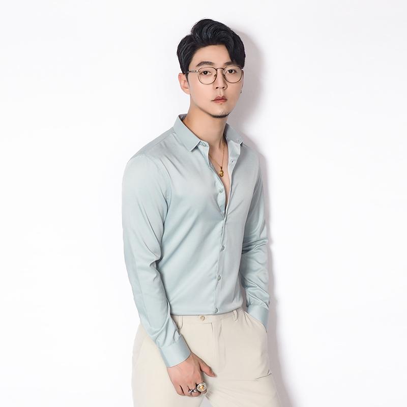 烟熏绿滑料长袖衬衫韩版正装抗皱衬衣早秋修身微弹免烫上衣男士