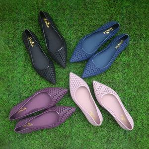 女夏镂空碎花洞洞尖头软胶雨季平底平跟舒适纯色简约浅口网格凉鞋