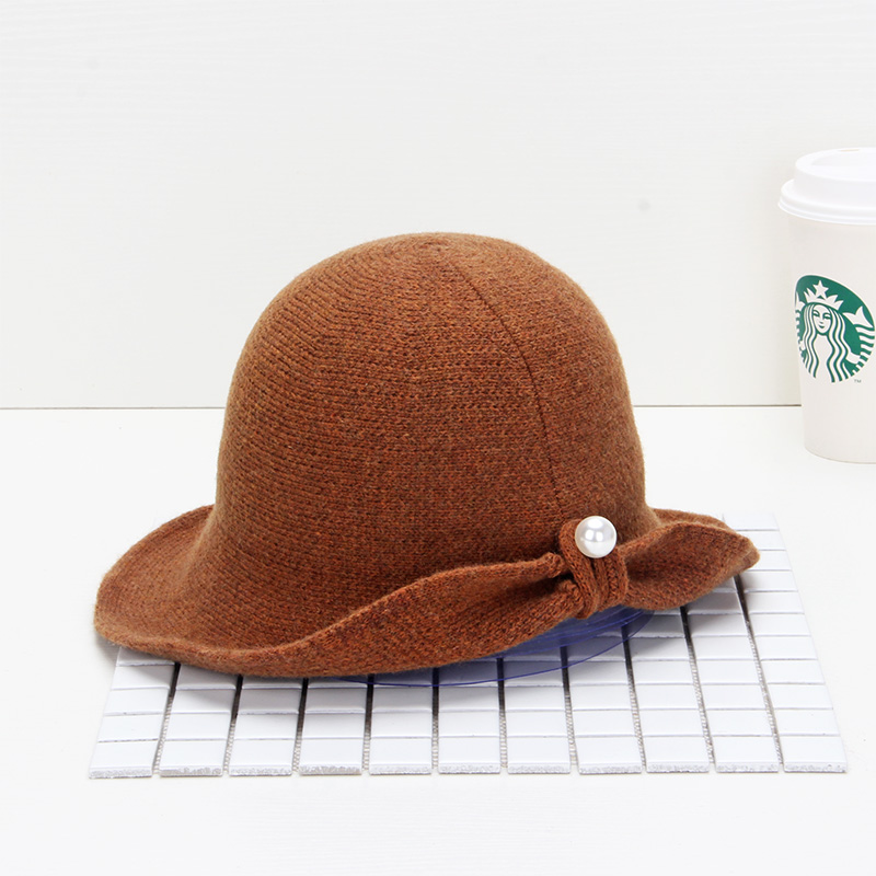 Hat female autumn winter new wool blended dome basin hat Korean fashion warm pearl pure color knitting fishermans hat
