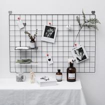 北欧ins风网格照片墙壁装饰简约相框挂墙置物铁架夹子悬挂相片墙