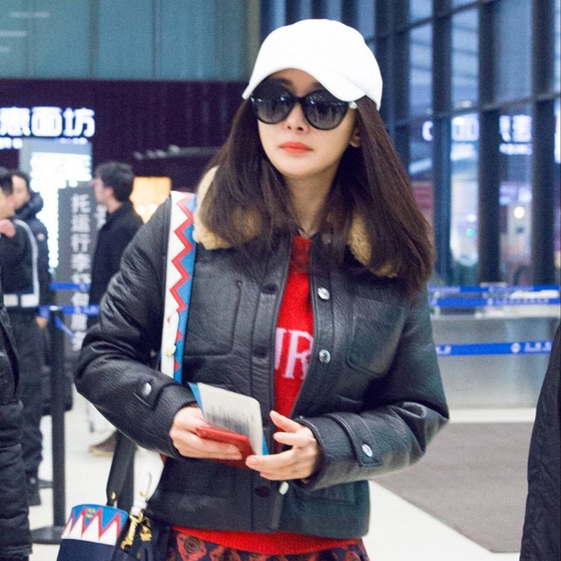 New stars same fur coat womens lamb hair collar short Pu slim winter coat motorcycle jacket versatile