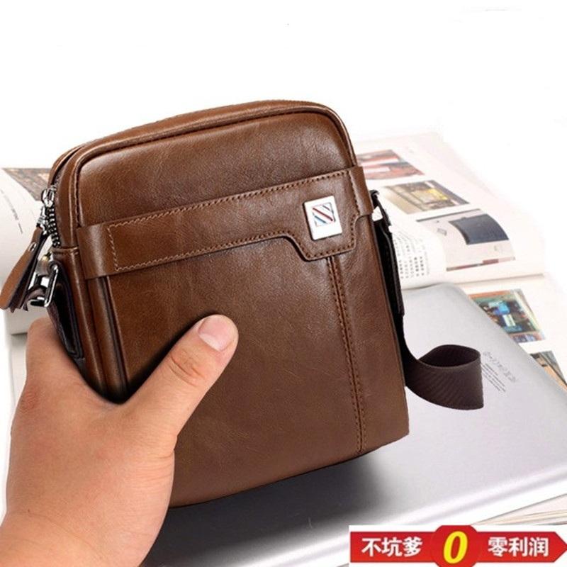 Summer mens Small Bag Mini fashion trendy mens shoulder bag leisure vertical one shoulder diagonal straddle bag middle aged mens Leather Bag Backpack
