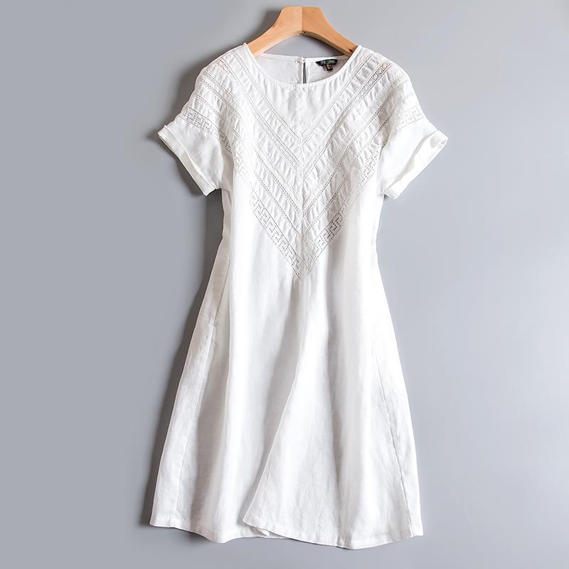 舒适全麻亚麻棉麻妈妈连衣裙女2019新款夏裙子宽松大码显瘦中长款(非品牌)