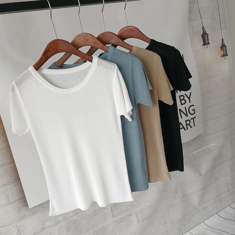 �n版夏�b��冰�z短袖t恤女�却铙w恤打底衫半袖上衣��力微透薄款