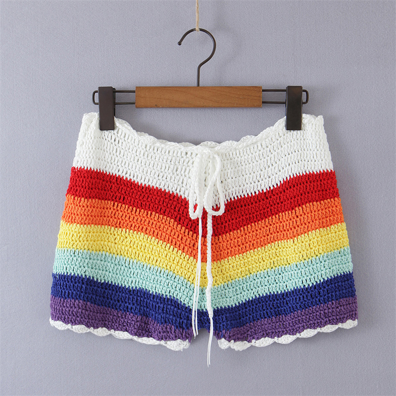 183-25934 FMP 9829 European and American new waist lace up full manual Crocheted Rainbow Stripe knitted shorts