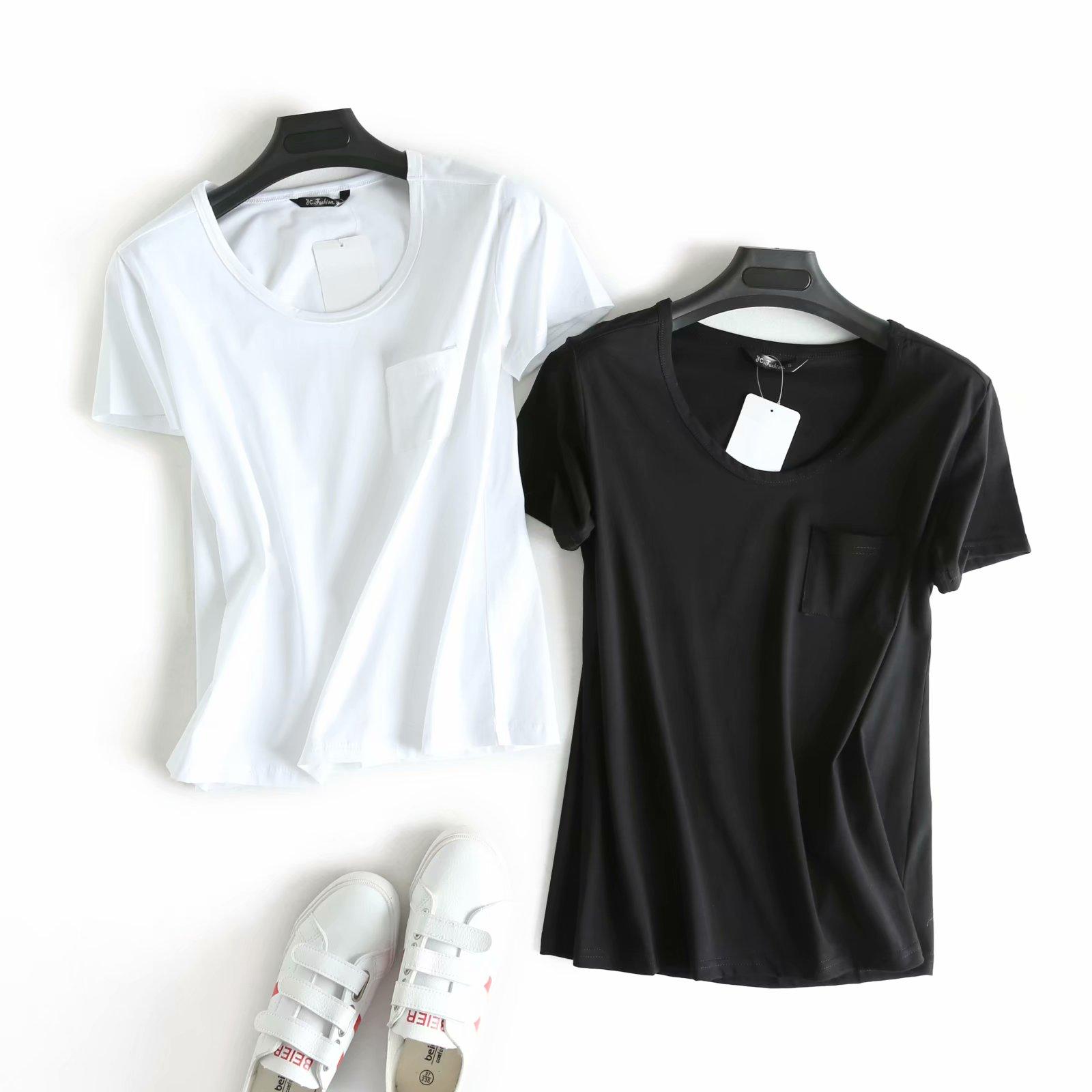外贸原单大牌出口欧美风剪标真品尾单 新款圆领单口袋短袖纯色T恤