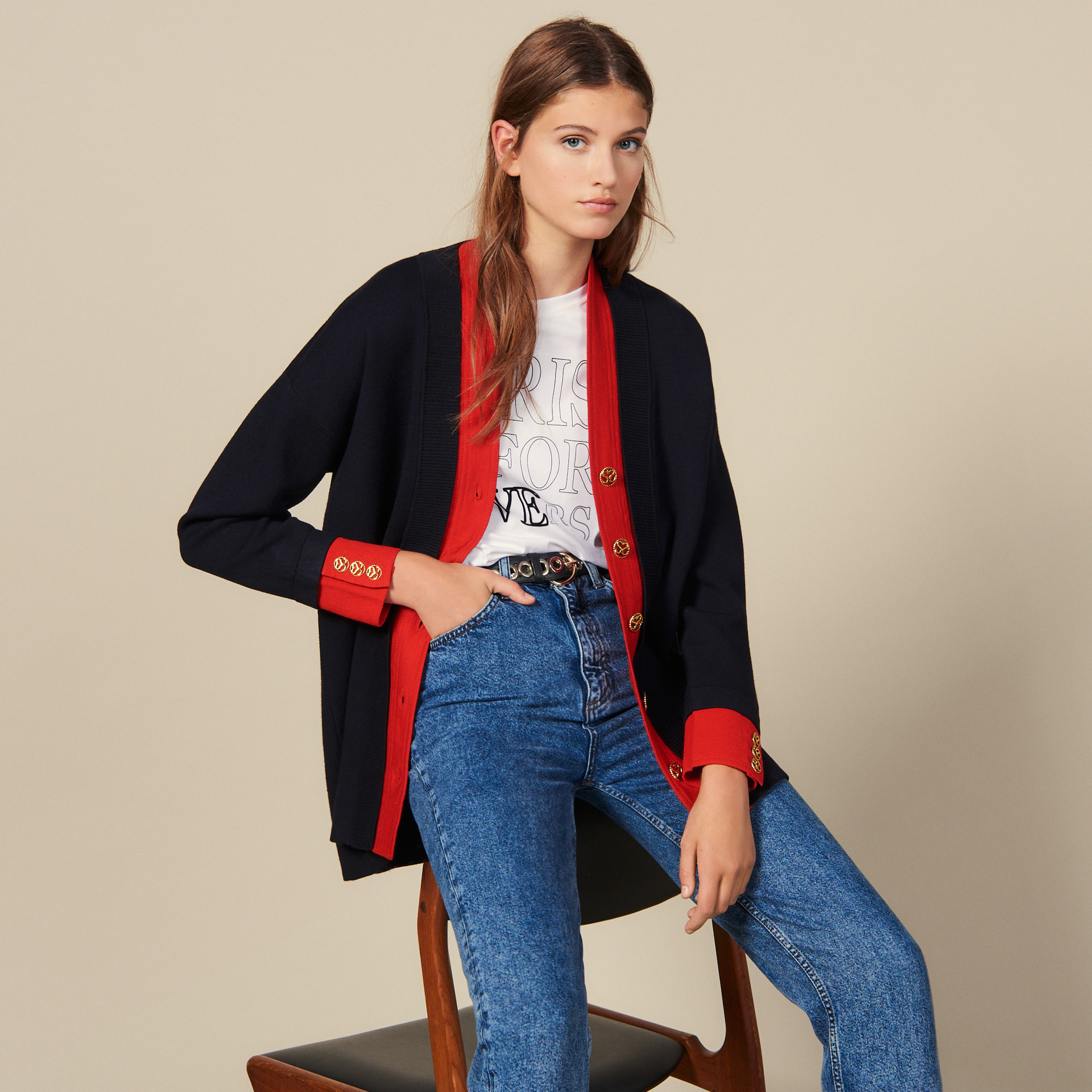 S family 19 autumn / winter new small fragrance color contrast piping metal breasted knitted cardigan coat 91059 loses money