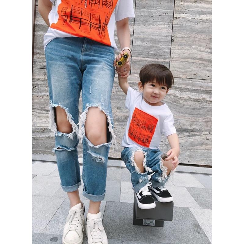 LUSON мама мужской ребенок детской одежды отверстие джинсы лето мать и дитя установить семья из трех человек семья семья наряд