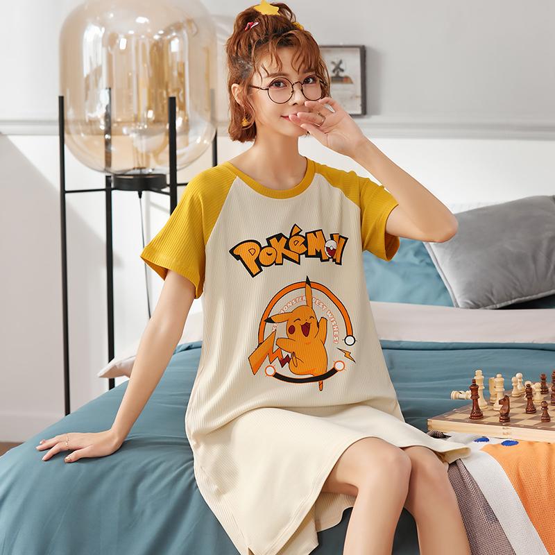 女士睡裙夏季纯棉长款性感甜美可爱短袖春秋可外穿薄款睡衣家居服