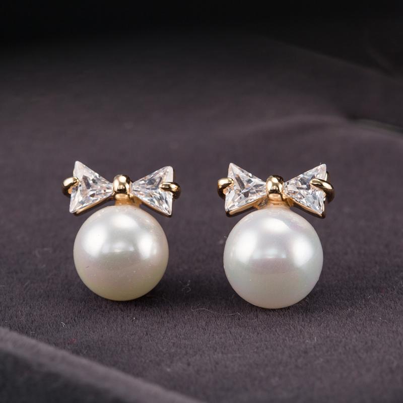 蝴蝶结珍珠耳钉耳环耳饰品时尚可爱女925纯银针日系韩国水钻锆石