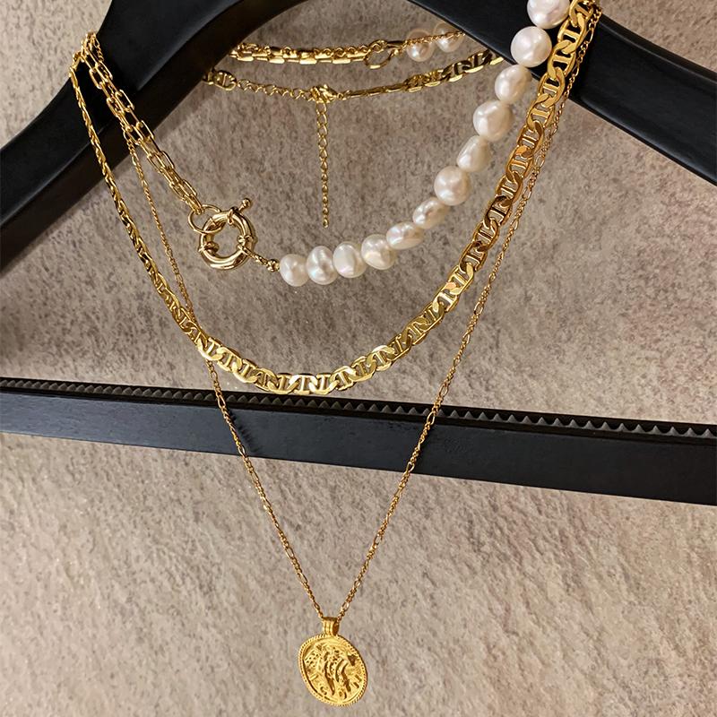 BOONEE◆欧美拼接链条珍珠金币吊坠组合叠戴项链 ins设计颈链女潮