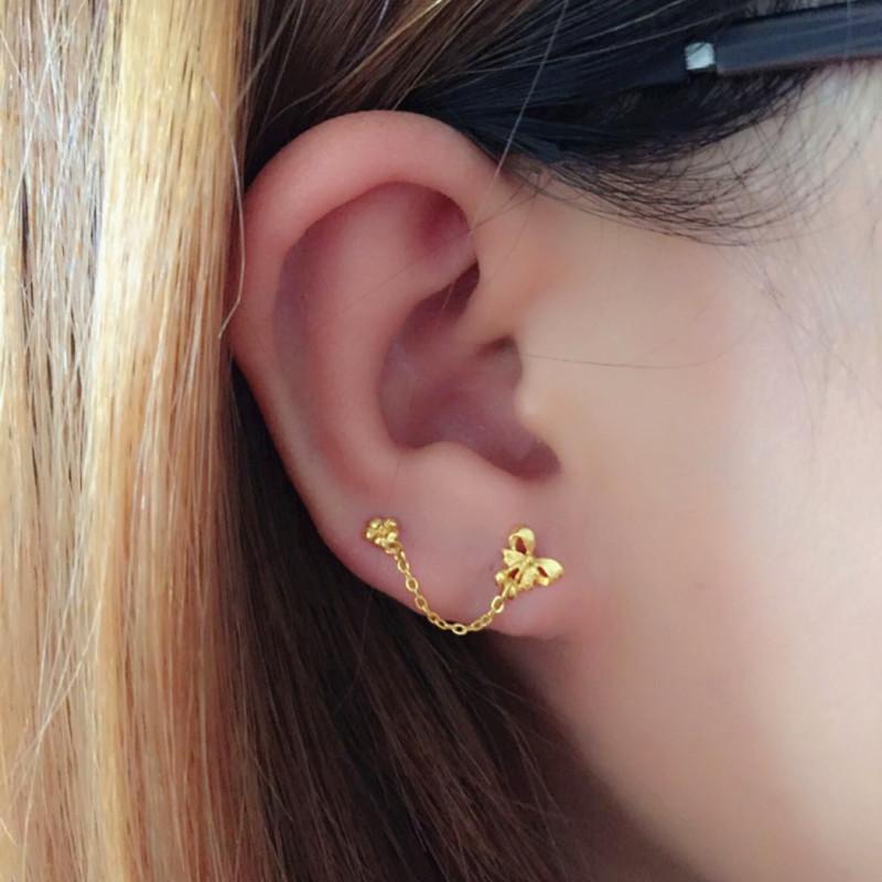 足金999双花朵耳钉链正品黄金双耳洞耳饰耳环圆头亮面耳饰