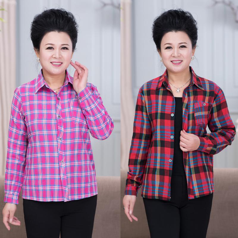 新款中老年女装春秋装格子衬衫短款妈妈装上衣中年女士格子衬衫