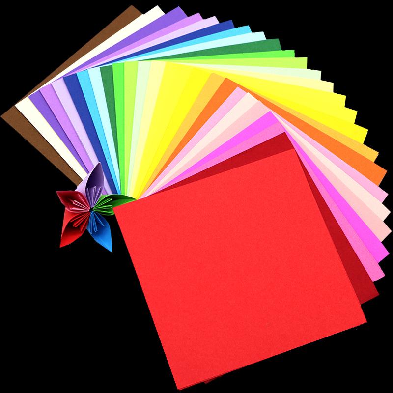 25色8-13-15厘米正方形多色纯色手工折纸千纸鹤叠纸彩色剪纸卡纸