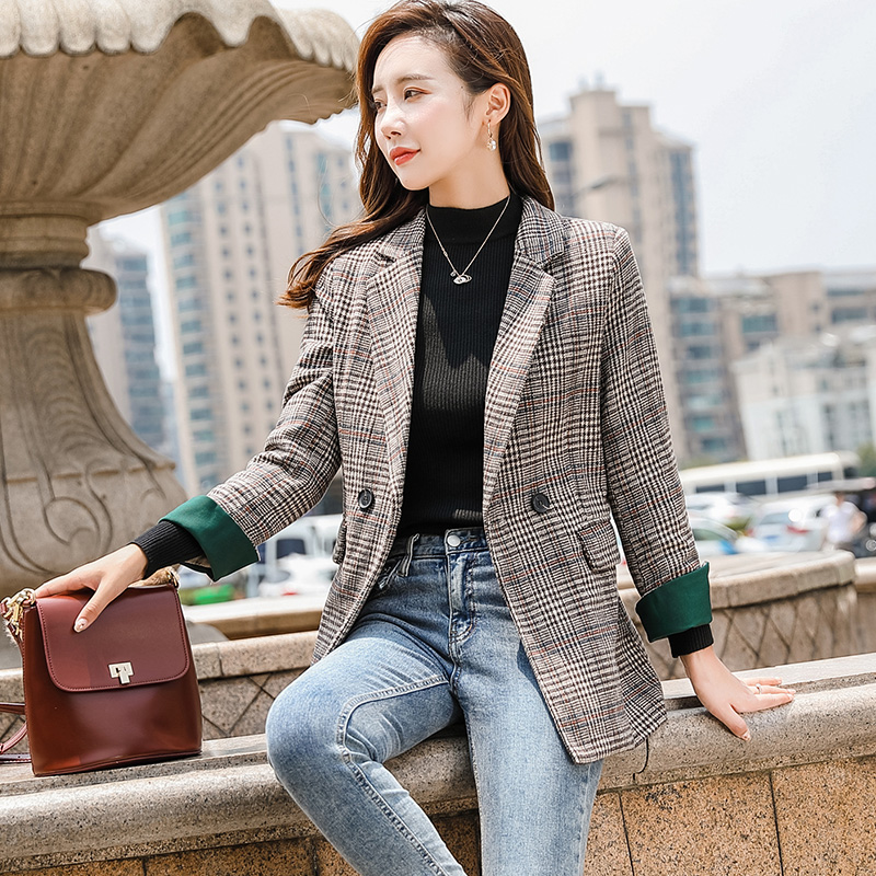 Plaid suit, heavy coat, womens Korean version, British style, leisure, retro net, red plaid, small suit, loose and Hong Kong Style